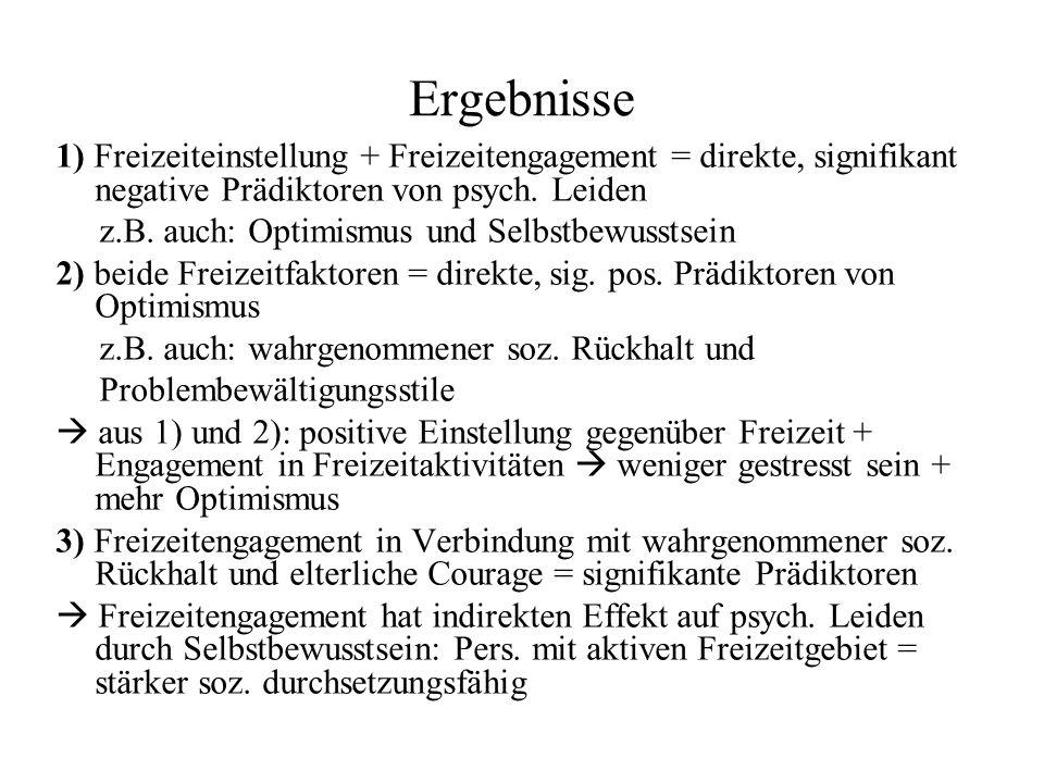 Ergebnisse 1) Freizeiteinstellung + Freizeitengagement = direkte, signifikant negative Prädiktoren von psych.