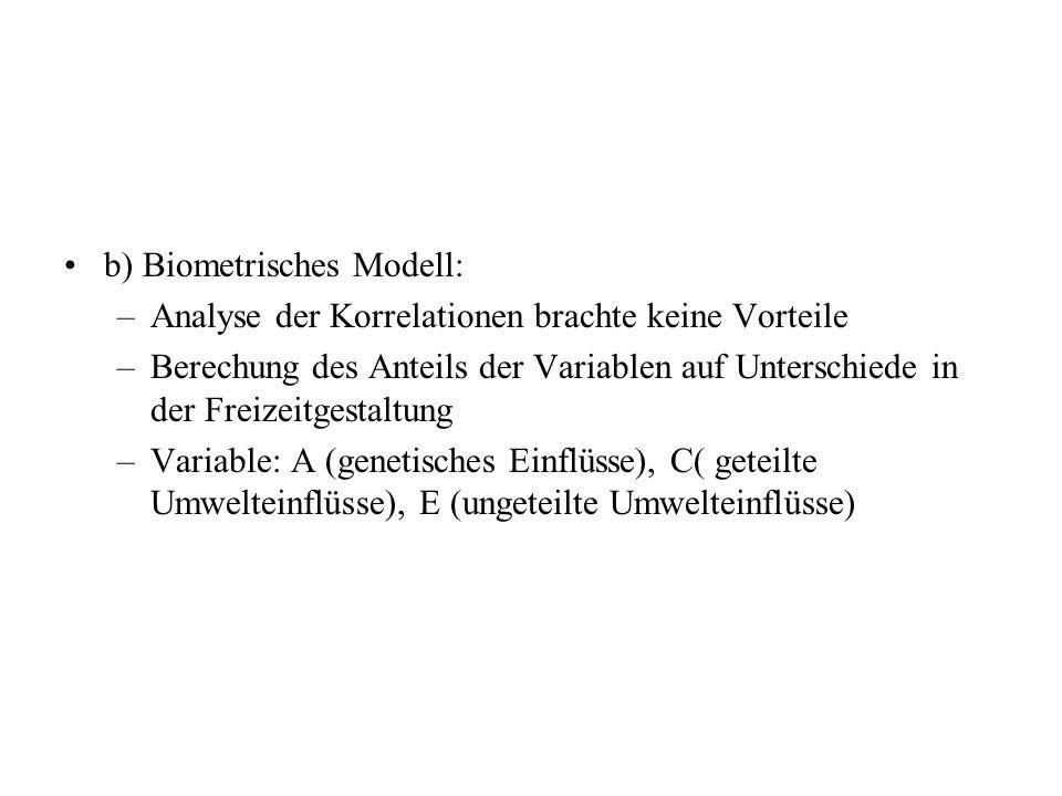b) Biometrisches Modell: –Analyse der Korrelationen brachte keine Vorteile –Berechung des Anteils der Variablen auf Unterschiede in der Freizeitgestaltung –Variable: A (genetisches Einflüsse), C( geteilte Umwelteinflüsse), E (ungeteilte Umwelteinflüsse)