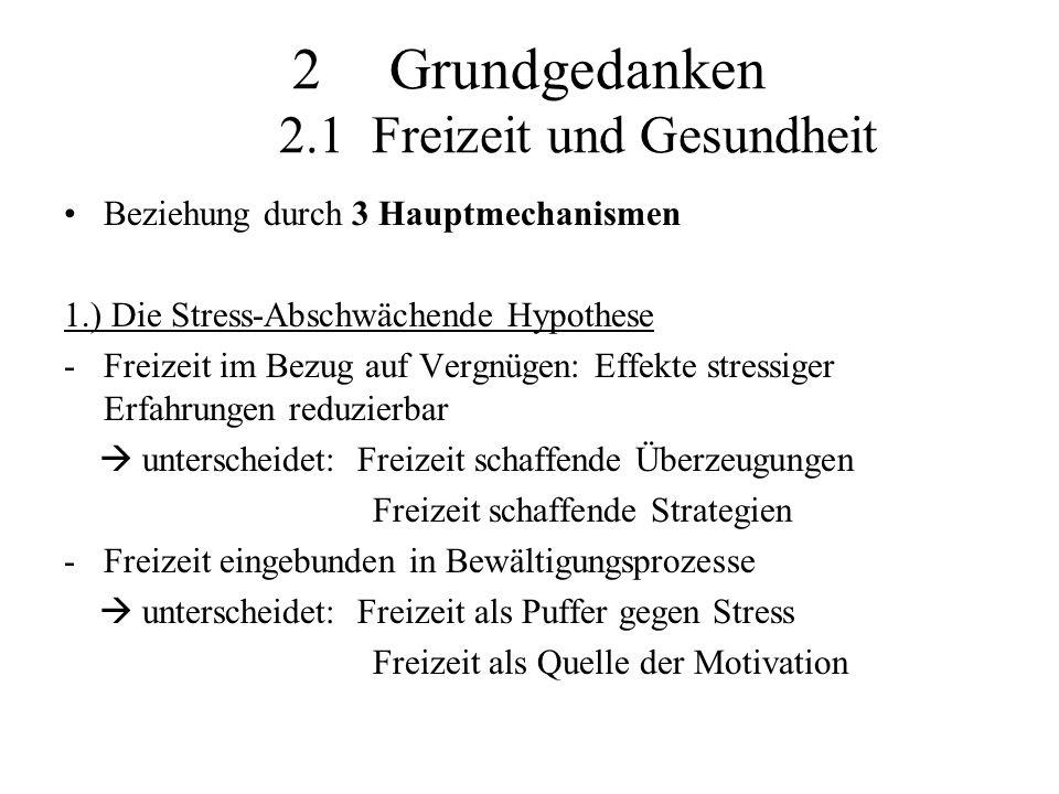 """2.) Die Haupt-Effekt Hypothese -Annahme: Freizeit fördert Wohlbefinden -Focus: Verbesserung der Gesundheit und Psyche -""""Concept of flow : Erfahrungen, die mit positiver Freizeit in Verbindung gebracht werden, erfasst -8 Hauptaspekte zur Energiegewinnung z.B.: Selbstbewusstsein, Kontrollmöglichkeiten, … 3.) Freizeit als Ursprung von Stress -Stress während freien Zeit mit Arbeit assoziiert -Freizeit im Bezug auf Inaktivität: möglicher Krankheitsauslöser"""