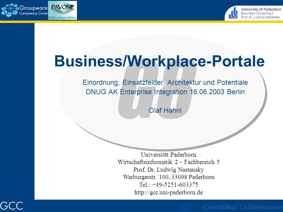 University of Paderborn Business Computing 2 Prof. Dr. Ludwig Nastansky Portal Architektur © IBM