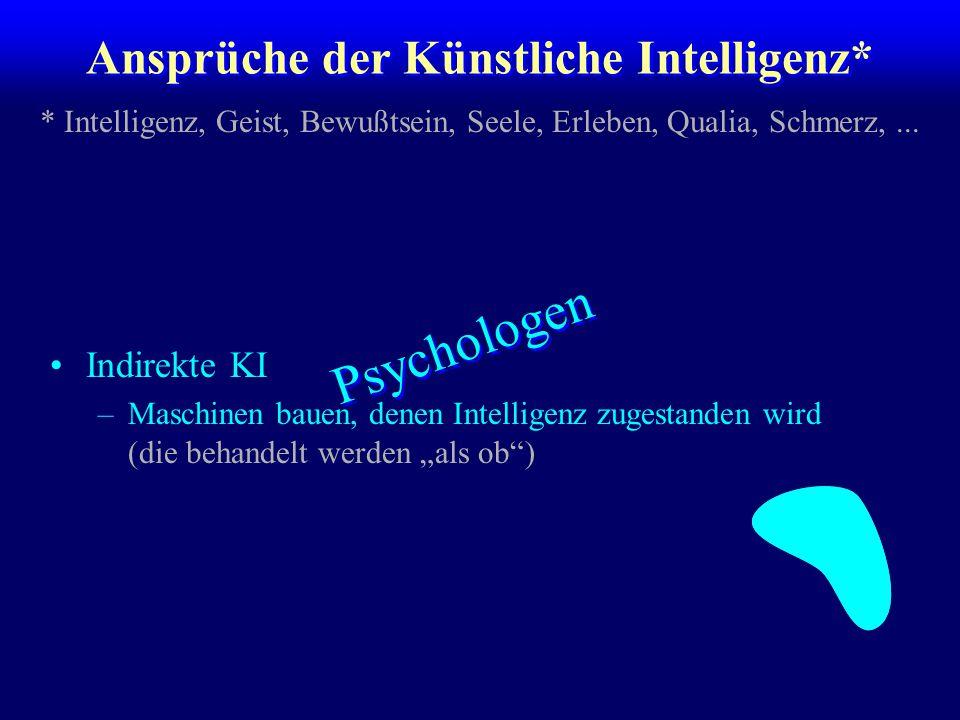 """Ansprüche der Künstliche Intelligenz* Indirekte KI –Maschinen bauen, denen Intelligenz zugestanden wird (die behandelt werden """"als ob"""") * Intelligenz,"""