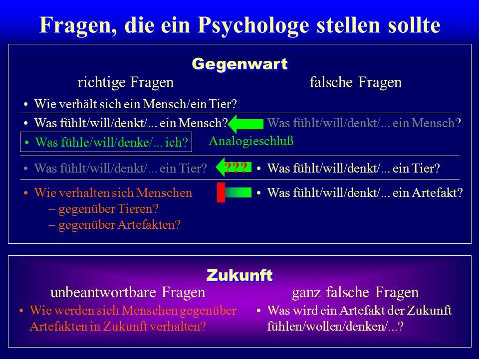 Fragen, die ein Psychologe stellen sollte richtige Fragenfalsche Fragen Wie verhält sich ein Mensch/ein Tier? Was fühlt/will/denkt/... ein Mensch? Was