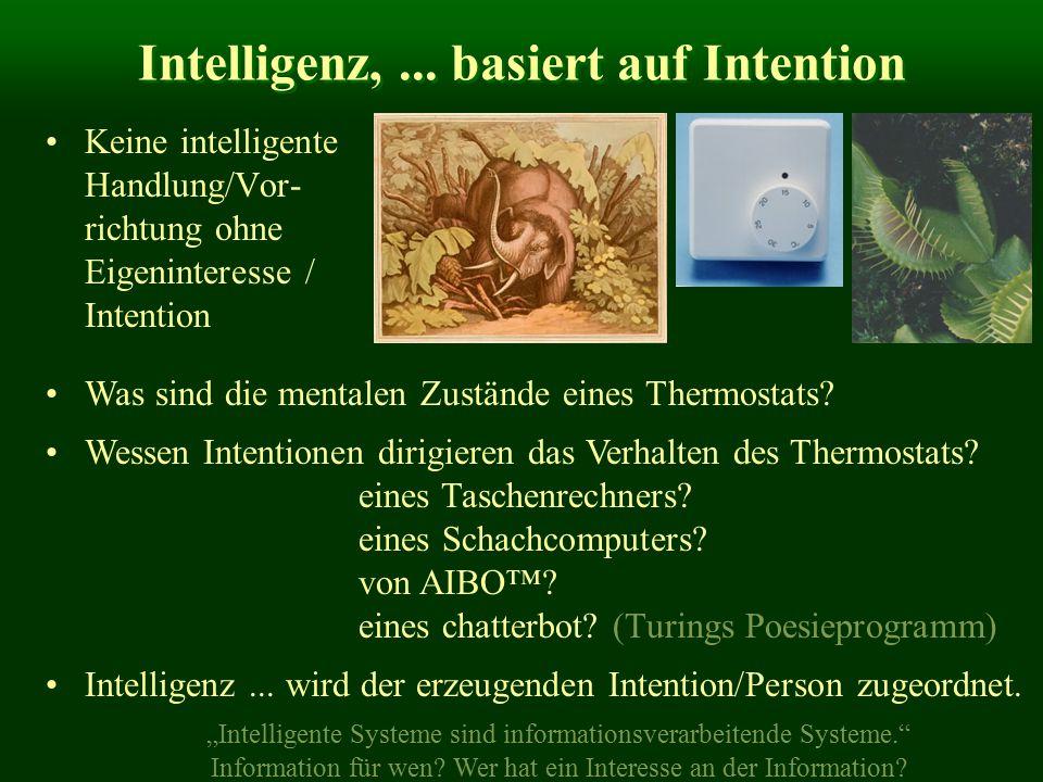 Intelligenz,... basiert auf Intention Keine intelligente Handlung/Vor- richtung ohne Eigeninteresse / Intention Was sind die mentalen Zustände eines T