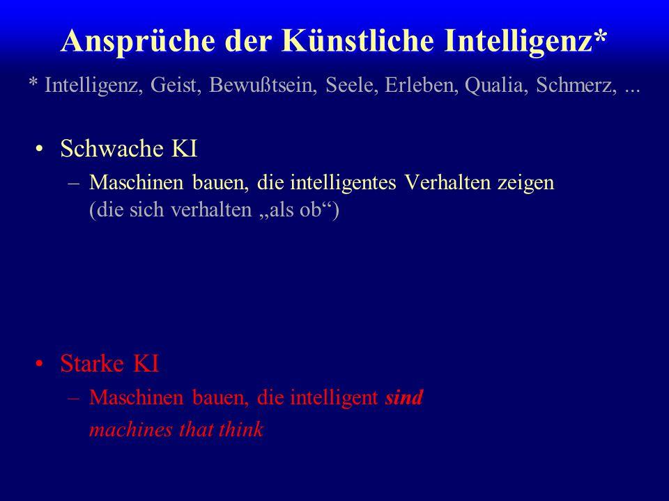 """Schwache KI –Maschinen bauen, die intelligentes Verhalten zeigen (die sich verhalten """"als ob"""") Starke KI –Maschinen bauen, die intelligent sind machin"""