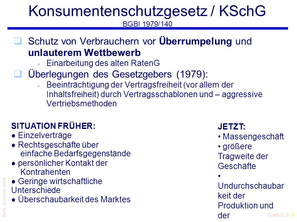SoWi Ü 2- 2 Barta: Zivilrecht online Konsumentenschutzgesetz / KSchG BGBl 1979/140 qSchutz von Verbrauchern vor Überrumpelung und unlauterem Wettbewer