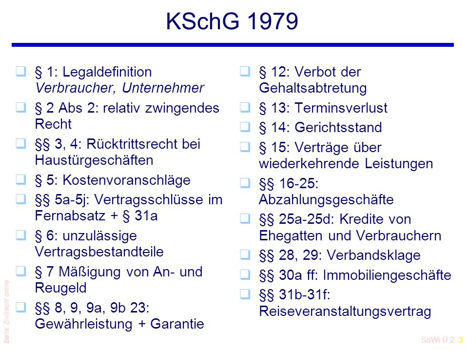 SoWi Ü 2- 3 Barta: Zivilrecht online KSchG 1979 q§ 1: Legaldefinition Verbraucher, Unternehmer q§ 2 Abs 2: relativ zwingendes Recht q§§ 3, 4: Rücktrit