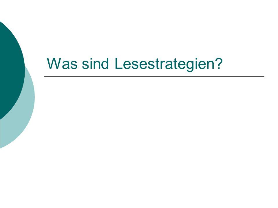 Was sind Lesestrategien?