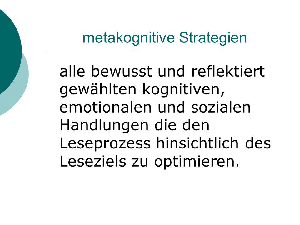 metakognitive Strategien alle bewusst und reflektiert gewählten kognitiven, emotionalen und sozialen Handlungen die den Leseprozess hinsichtlich des L