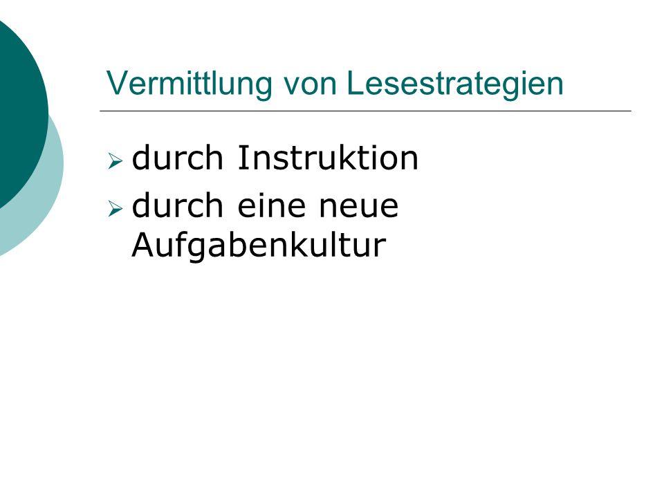 Vermittlung von Lesestrategien  durch Instruktion  durch eine neue Aufgabenkultur