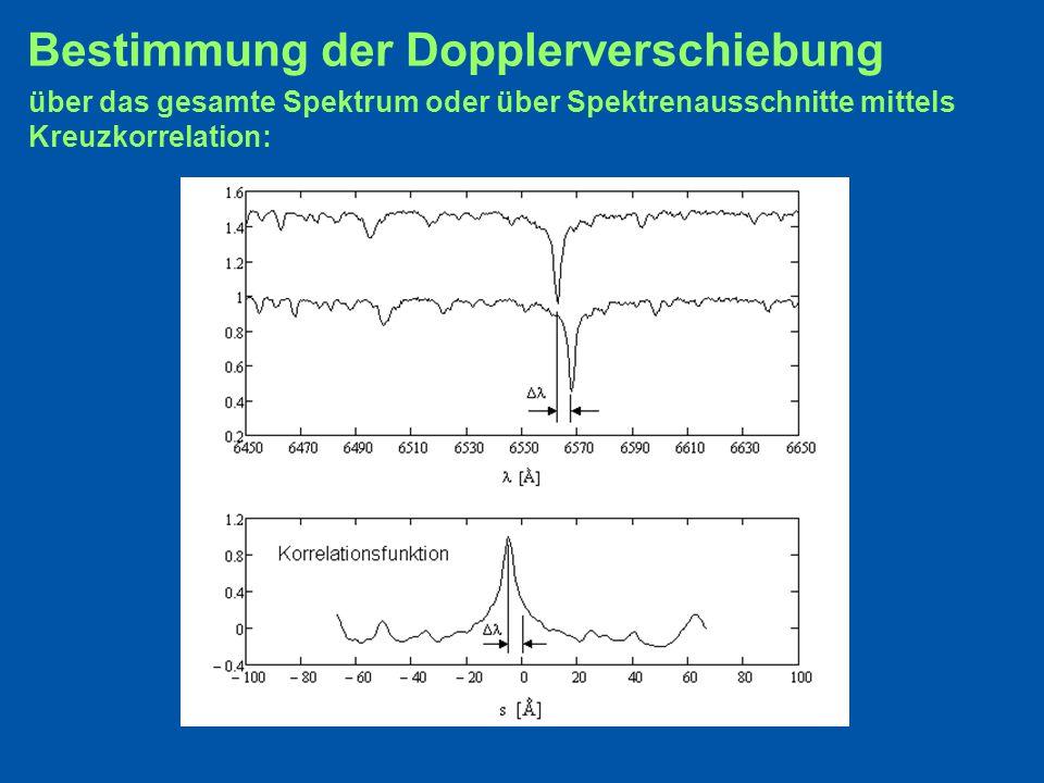 Bestimmung der Dopplerverschiebung über das gesamte Spektrum oder über Spektrenausschnitte mittels Kreuzkorrelation: