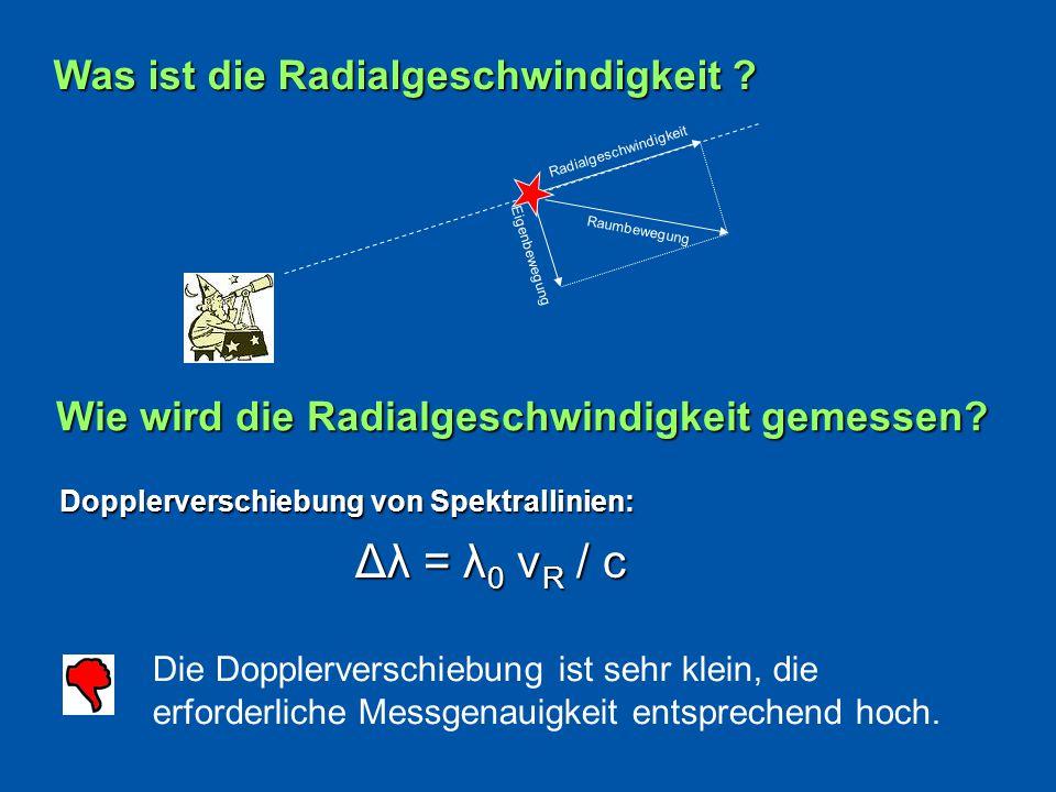Dopplerverschiebung von Spektrallinien: Dopplerverschiebung von Spektrallinien: Die Dopplerverschiebung ist sehr klein, die erforderliche Messgenauigkeit entsprechend hoch.