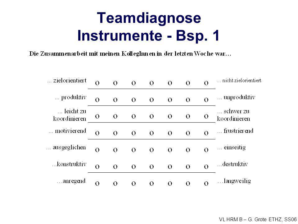 VL HRM B – G. Grote ETHZ, SS06 Teamdiagnose Instrumente - Bsp. 1