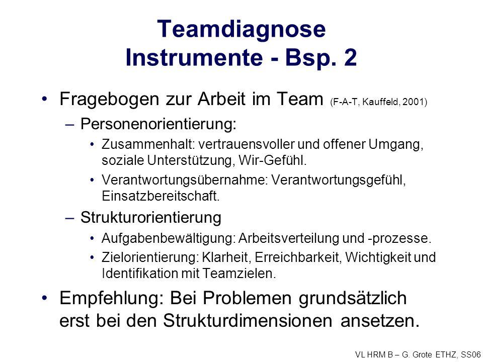 VL HRM B – G. Grote ETHZ, SS06 Teamdiagnose Instrumente - Bsp. 2 Fragebogen zur Arbeit im Team (F-A-T, Kauffeld, 2001) –Personenorientierung: Zusammen