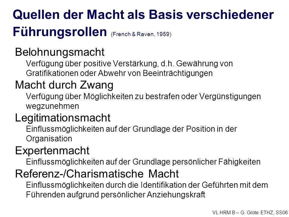 VL HRM B – G. Grote ETHZ, SS06 Quellen der Macht als Basis verschiedener Führungsrollen (French & Raven, 1959) Belohnungsmacht Verfügung über positive