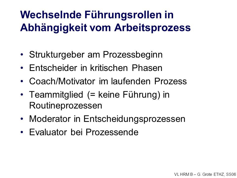 VL HRM B – G. Grote ETHZ, SS06 Wechselnde Führungsrollen in Abhängigkeit vom Arbeitsprozess Strukturgeber am Prozessbeginn Entscheider in kritischen P