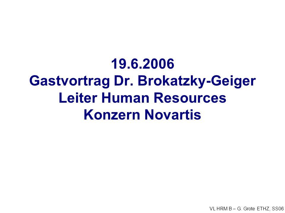 VL HRM B – G. Grote ETHZ, SS06 19.6.2006 Gastvortrag Dr. Brokatzky-Geiger Leiter Human Resources Konzern Novartis