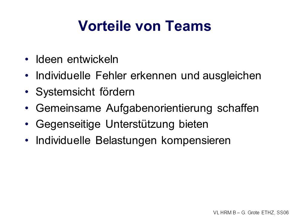 VL HRM B – G. Grote ETHZ, SS06 Vorteile von Teams Ideen entwickeln Individuelle Fehler erkennen und ausgleichen Systemsicht fördern Gemeinsame Aufgabe