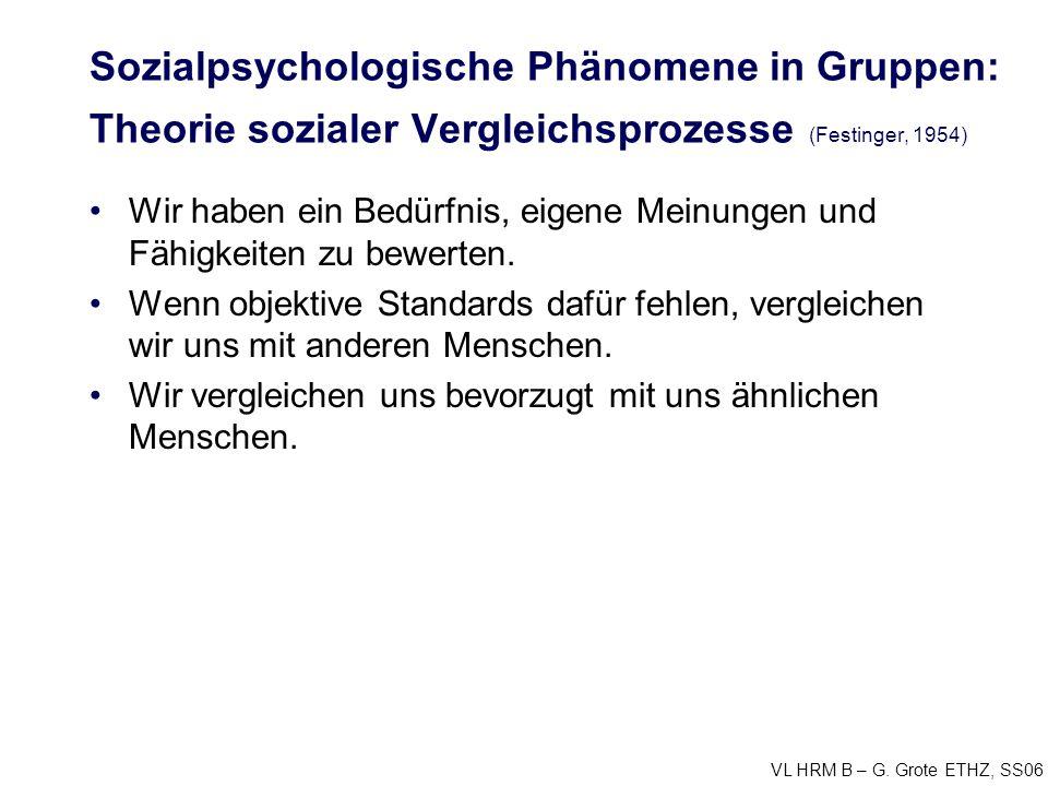 VL HRM B – G. Grote ETHZ, SS06 Sozialpsychologische Phänomene in Gruppen: Theorie sozialer Vergleichsprozesse (Festinger, 1954) Wir haben ein Bedürfni
