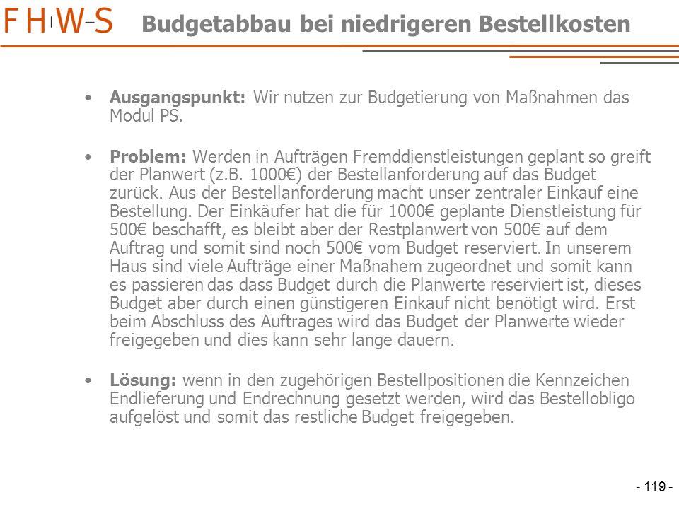 - 119 - Budgetabbau bei niedrigeren Bestellkosten Ausgangspunkt: Wir nutzen zur Budgetierung von Maßnahmen das Modul PS.