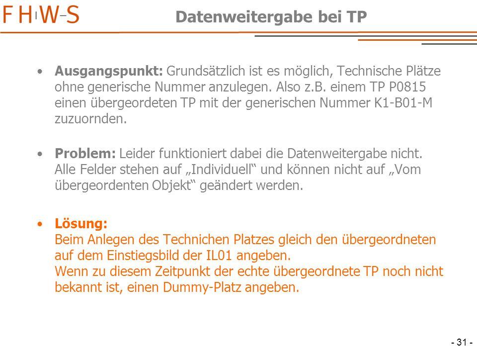 - 31 - Datenweitergabe bei TP Ausgangspunkt: Grundsätzlich ist es möglich, Technische Plätze ohne generische Nummer anzulegen.