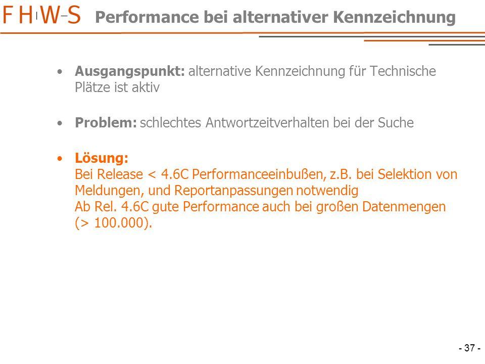 - 37 - Performance bei alternativer Kennzeichnung Ausgangspunkt: alternative Kennzeichnung für Technische Plätze ist aktiv Problem: schlechtes Antwortzeitverhalten bei der Suche Lösung: Bei Release 100.000).
