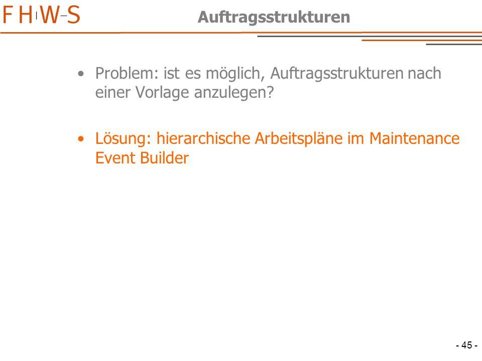 - 45 - Auftragsstrukturen Problem: ist es möglich, Auftragsstrukturen nach einer Vorlage anzulegen.