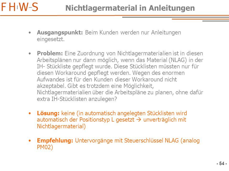 - 54 - Nichtlagermaterial in Anleitungen Ausgangspunkt: Beim Kunden werden nur Anleitungen eingesetzt.