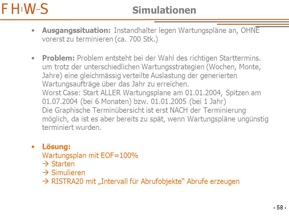 - 58 - Simulationen Ausgangssituation: Instandhalter legen Wartungspläne an, OHNE vorerst zu terminieren (ca.