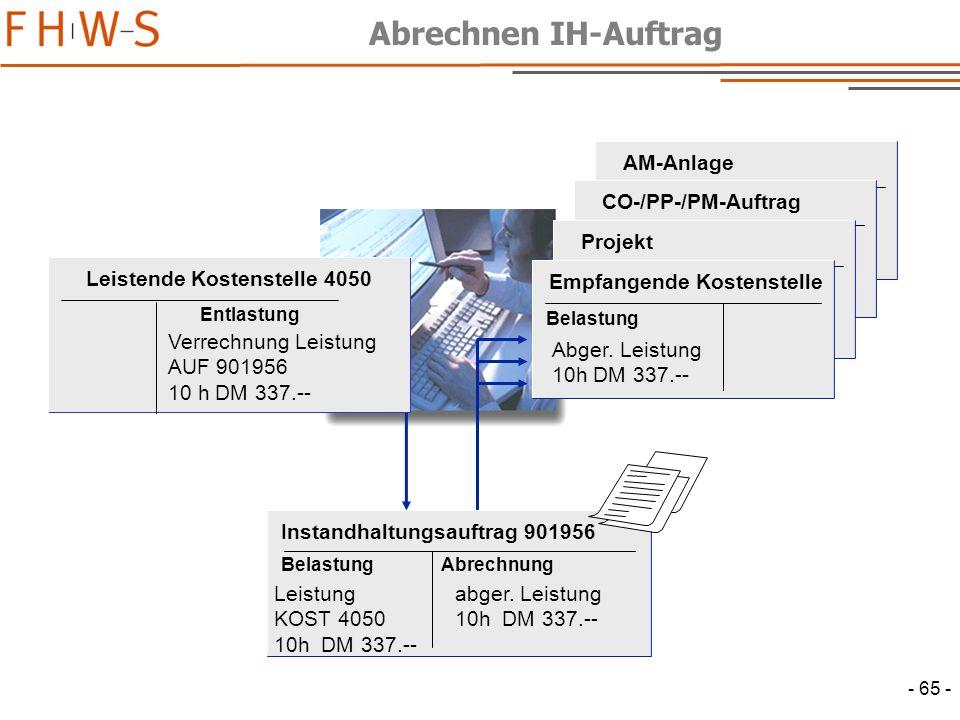 - 65 - Instandhaltungsauftrag 901956 BelastungAbrechnung Leistung KOST 4050 10h DM 337.-- abger.