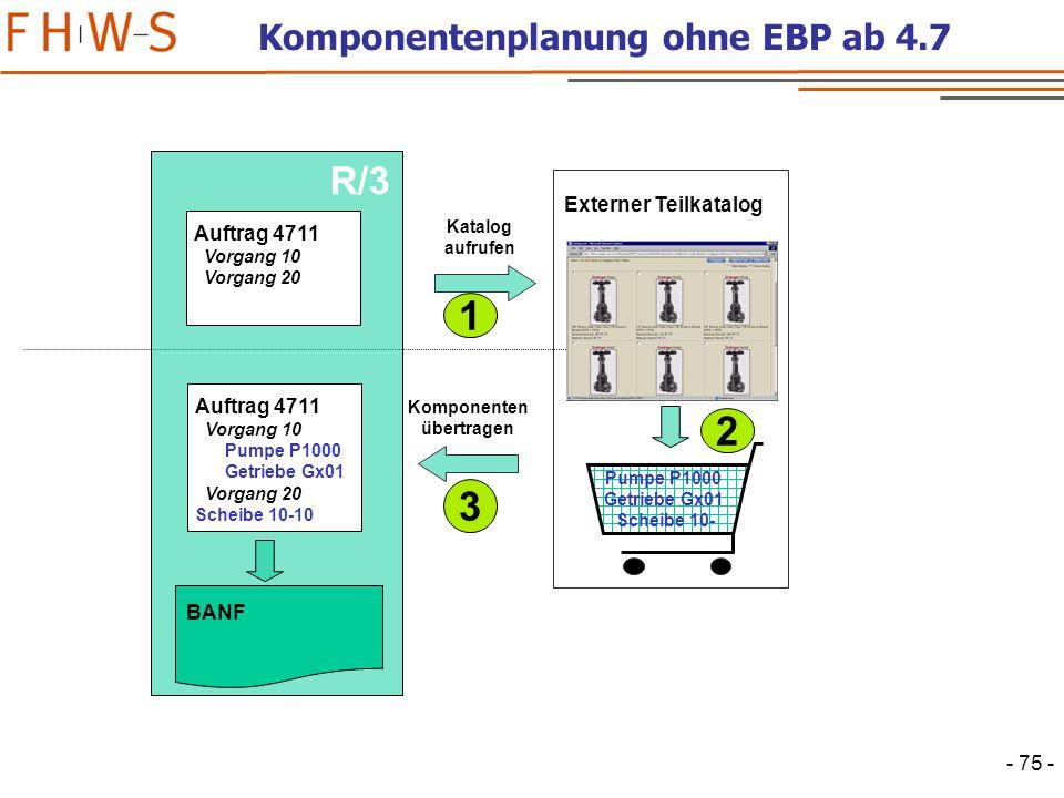 - 75 - BBP R/3 Auftrag 4711 Vorgang 10 Vorgang 20 BANF Auftrag 4711 Vorgang 10 Pumpe P1000 Getriebe Gx01 Vorgang 20 Scheibe 10-10 Komponenten übertragen Externer Teilkatalog Katalog aufrufen Pumpe P1000 Getriebe Gx01 Scheibe 10- 1 2 3 Komponentenplanung ohne EBP ab 4.7