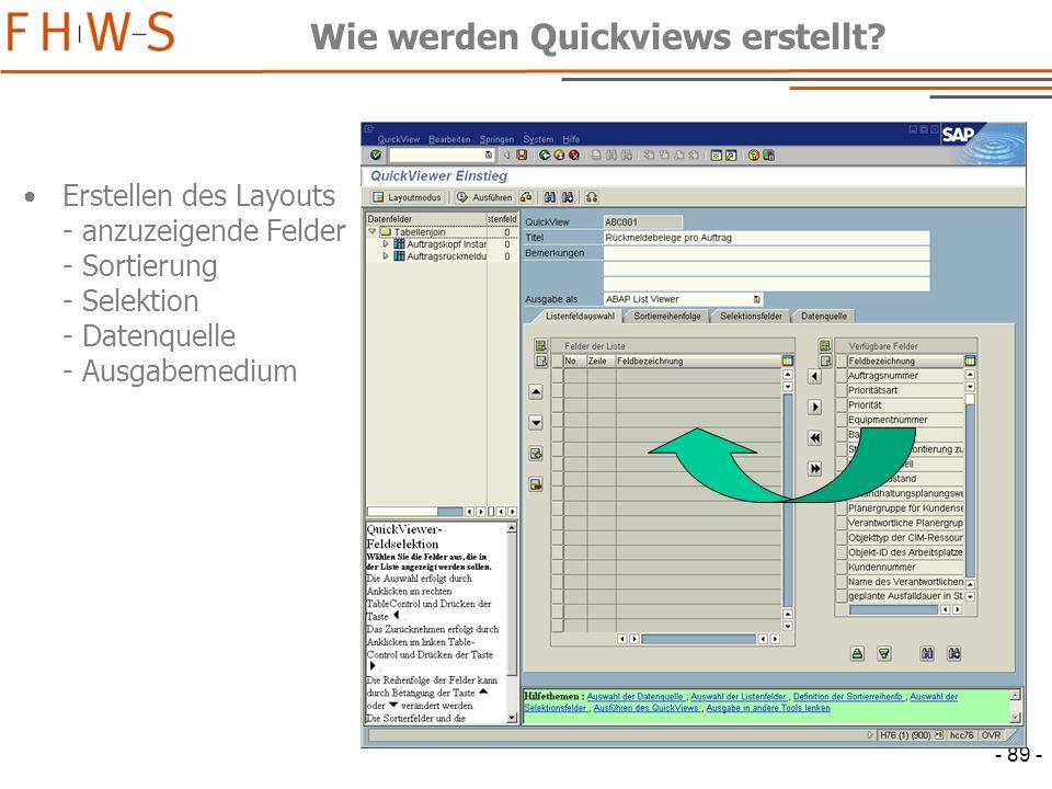- 89 - Wie werden Quickviews erstellt.