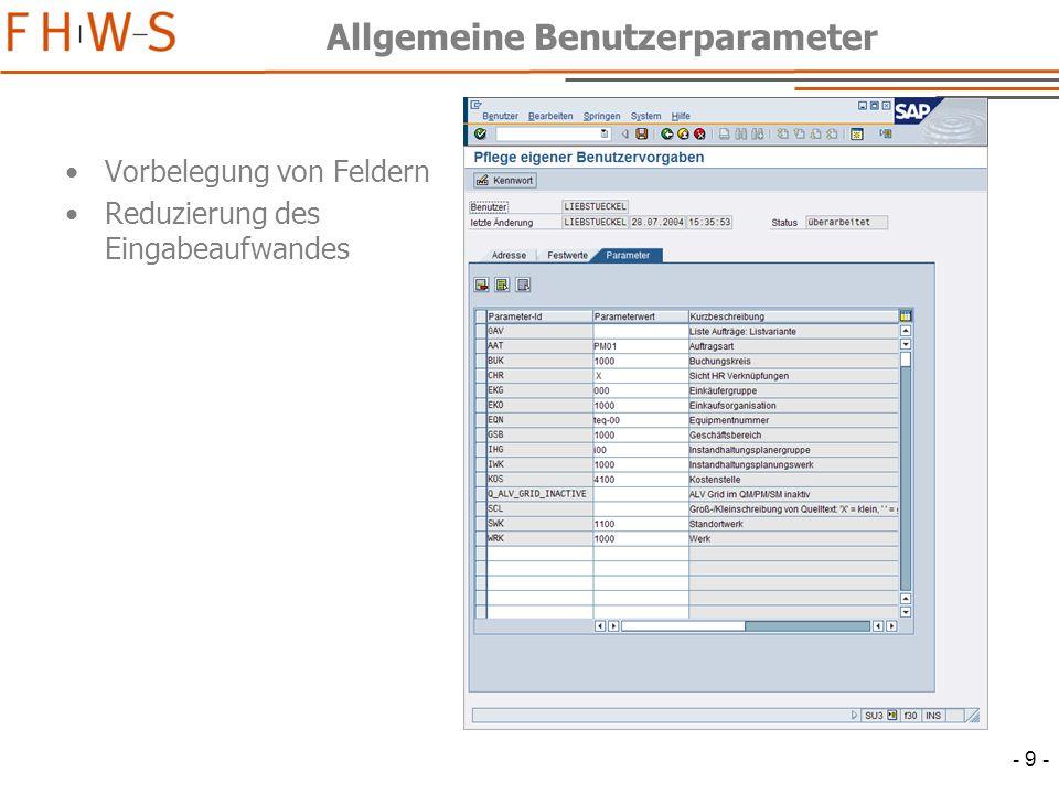 - 10 - PM-spezifische Benutzerparameter