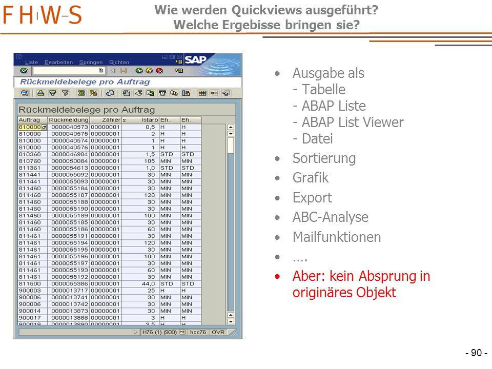 - 90 - Wie werden Quickviews ausgeführt.Welche Ergebisse bringen sie.