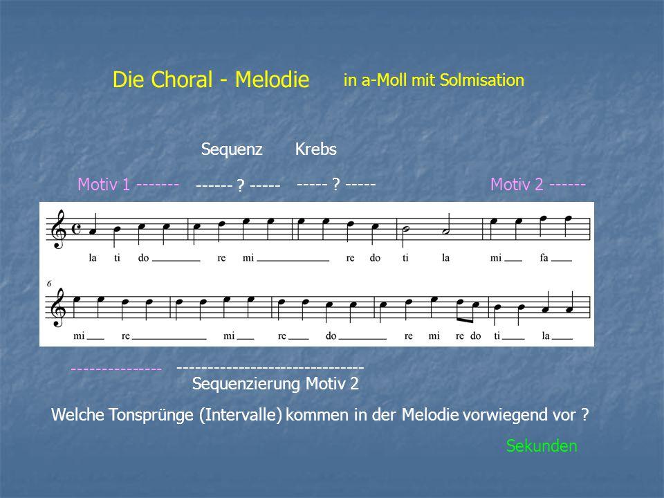 Die Choral - Melodie in a-Moll mit Solmisation Motiv 1 ------- ------ ? ----- ----- ? -----Motiv 2 ------ --------------- ----------------------------