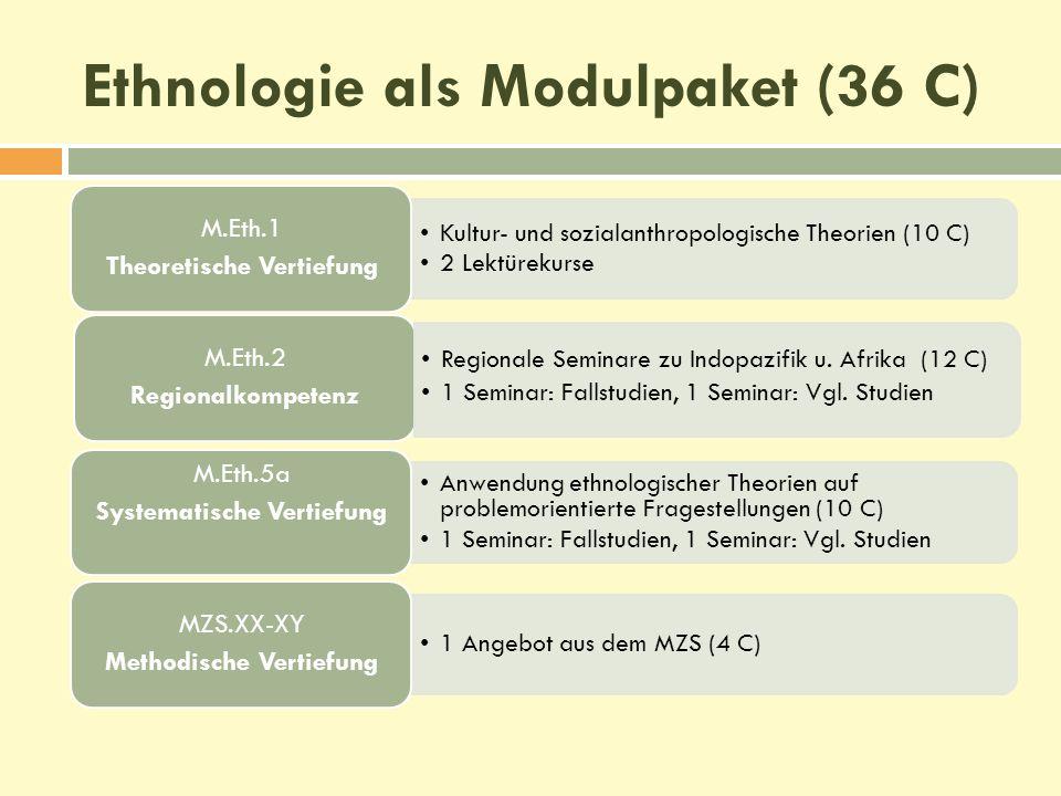 Ethnologie als Modulpaket (36 C) Kultur- und sozialanthropologische Theorien (10 C) 2 Lektürekurse M.Eth.1 Theoretische Vertiefung M.Eth.2 Regionalkom