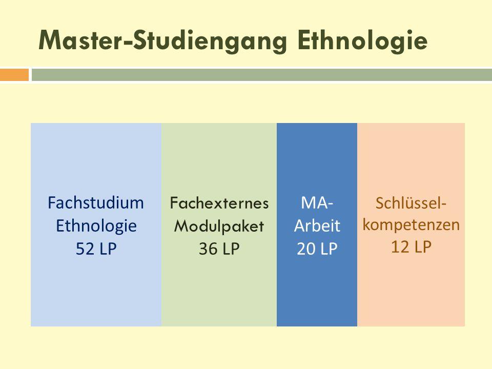 Fachstudium Ethnologie 52 LP Fachexternes Modulpaket 36 LP MA- Arbeit 20 LP Schlüssel- kompetenzen 12 LP