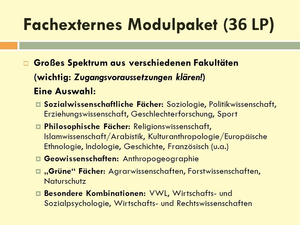 Fachexternes Modulpaket ( 36 LP)  Großes Spektrum aus verschiedenen Fakultäten (wichtig: Zugangsvoraussetzungen klären!) Eine Auswahl:  Sozialwissen