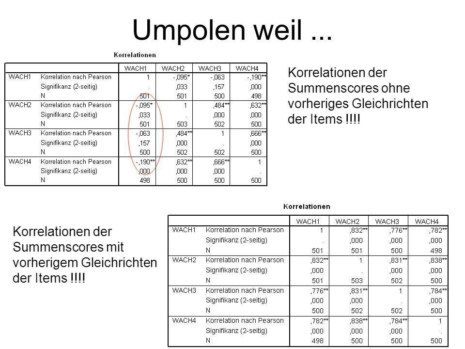 Umpolen weil... Korrelationen der Summenscores ohne vorheriges Gleichrichten der Items !!!.