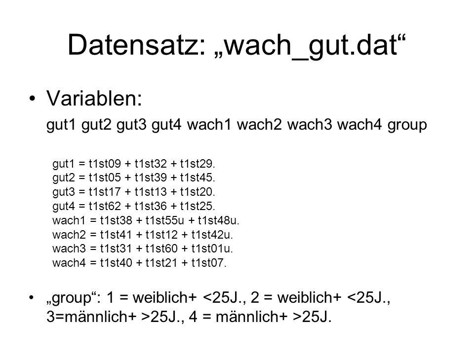 """Datensatz: """"wach_gut.dat Variablen: gut1 gut2 gut3 gut4 wach1 wach2 wach3 wach4 group gut1 = t1st09 + t1st32 + t1st29."""