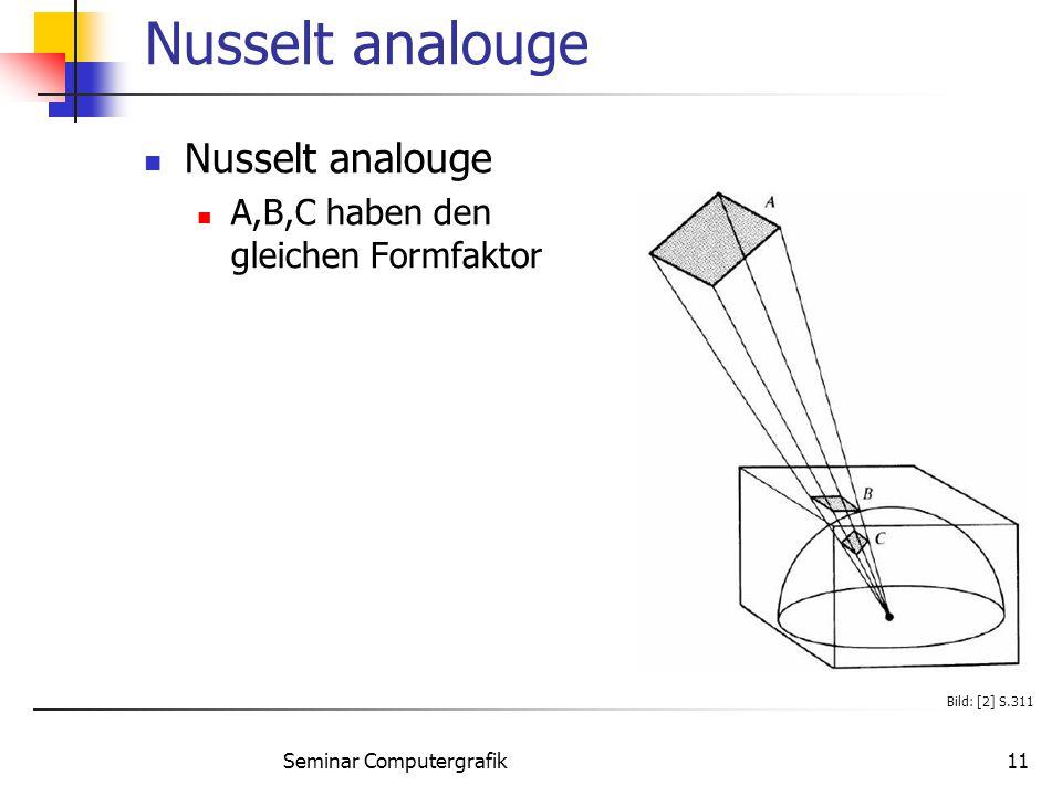 Seminar Computergrafik11 Nusselt analouge A,B,C haben den gleichen Formfaktor Bild: [2] S.311
