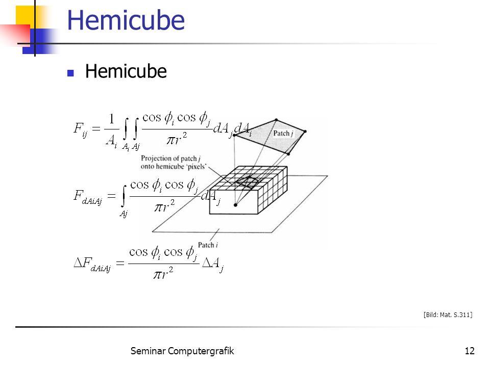 Seminar Computergrafik12 Hemicube [Bild: Mat. S.311]