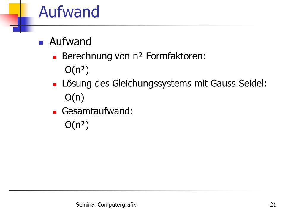 Seminar Computergrafik21 Aufwand Berechnung von n² Formfaktoren: O(n²) Lösung des Gleichungssystems mit Gauss Seidel: O(n) Gesamtaufwand: O(n²)