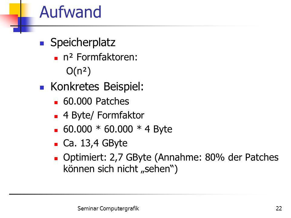 Seminar Computergrafik22 Aufwand Speicherplatz n² Formfaktoren: O(n²) Konkretes Beispiel: 60.000 Patches 4 Byte/ Formfaktor 60.000 * 60.000 * 4 Byte C