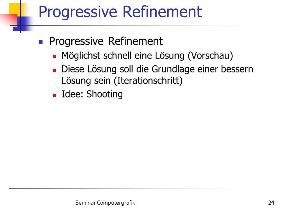 Seminar Computergrafik24 Progressive Refinement Möglichst schnell eine Lösung (Vorschau) Diese Lösung soll die Grundlage einer bessern Lösung sein (It