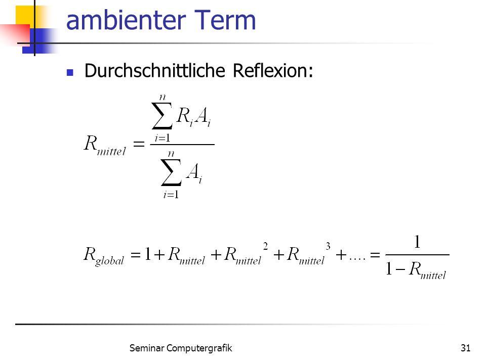 Seminar Computergrafik31 ambienter Term Durchschnittliche Reflexion: