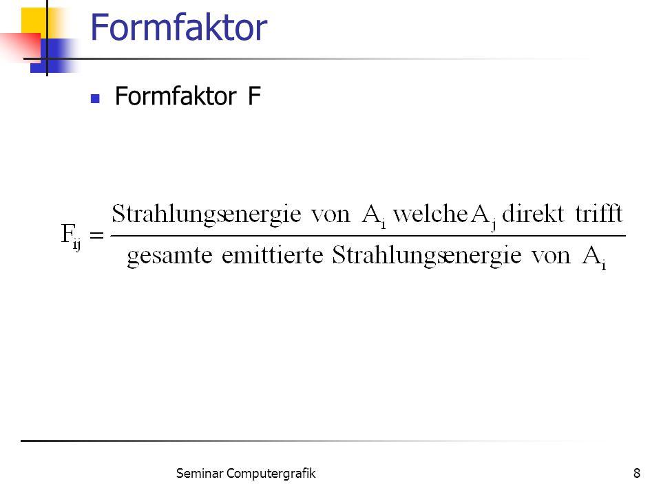 Seminar Computergrafik8 Formfaktor Formfaktor F