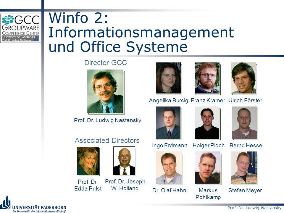 Prof. Dr. Ludwig Nastansky Winfo 2: Informationsmanagement und Office Systeme Prof.