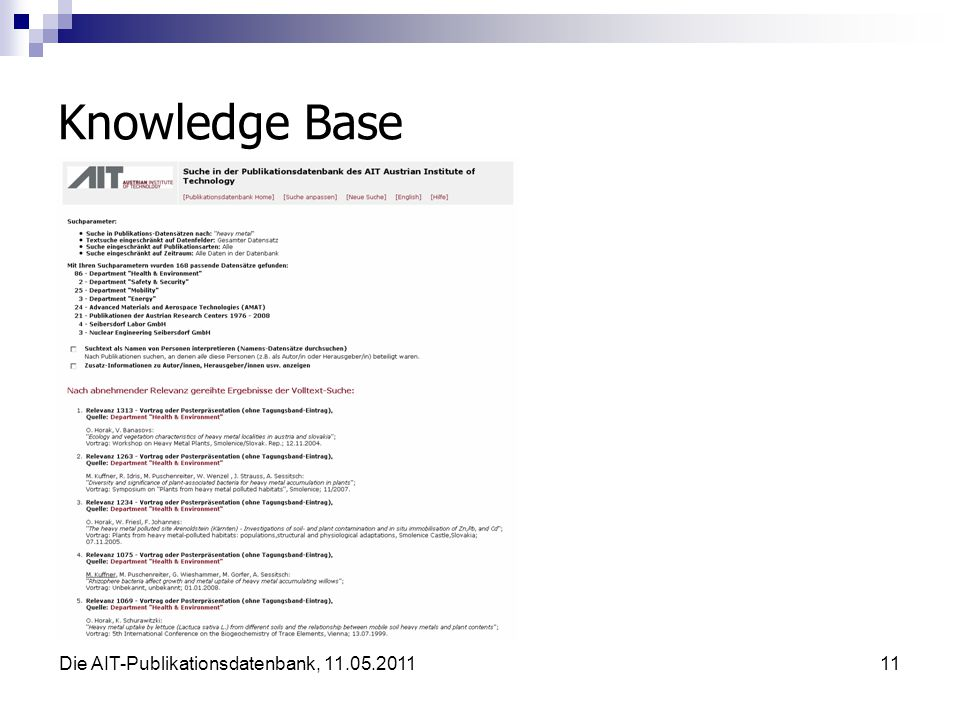 Die AIT-Publikationsdatenbank, 11.05.201111 Knowledge Base