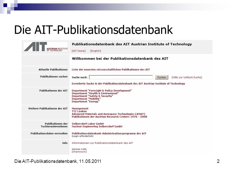Die AIT-Publikationsdatenbank, 11.05.201113 Datenbank-Struktur