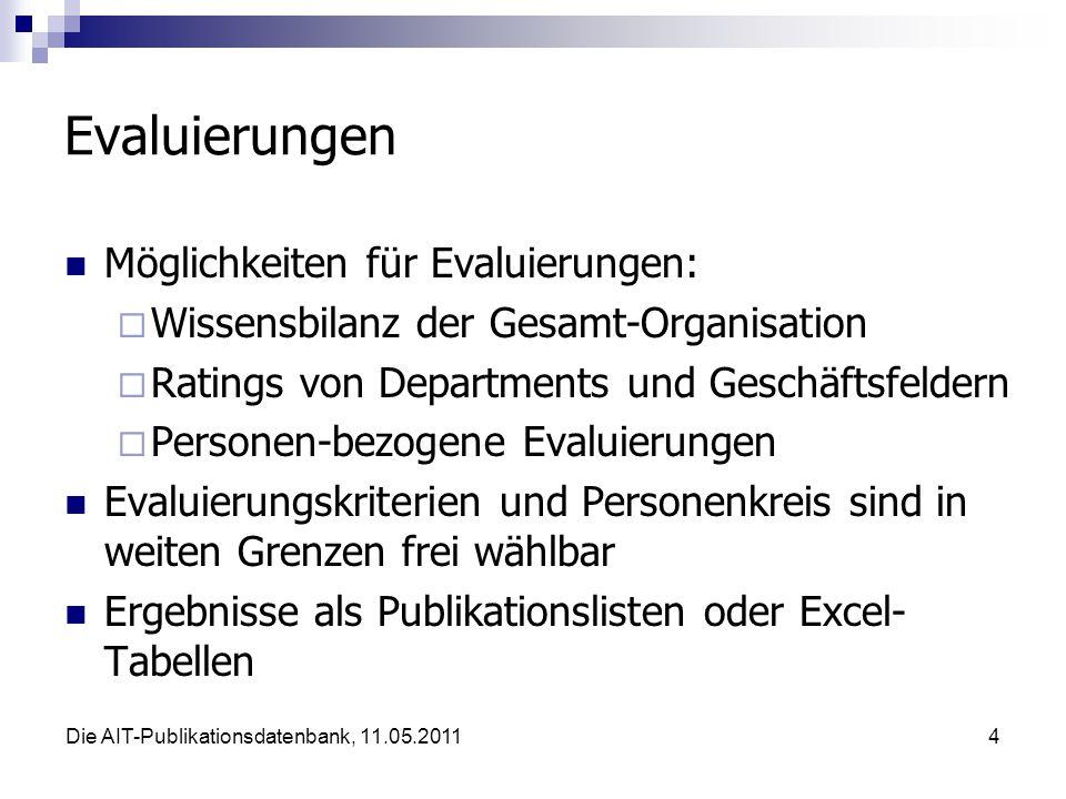 Die AIT-Publikationsdatenbank, 11.05.20115 Evaluierungen